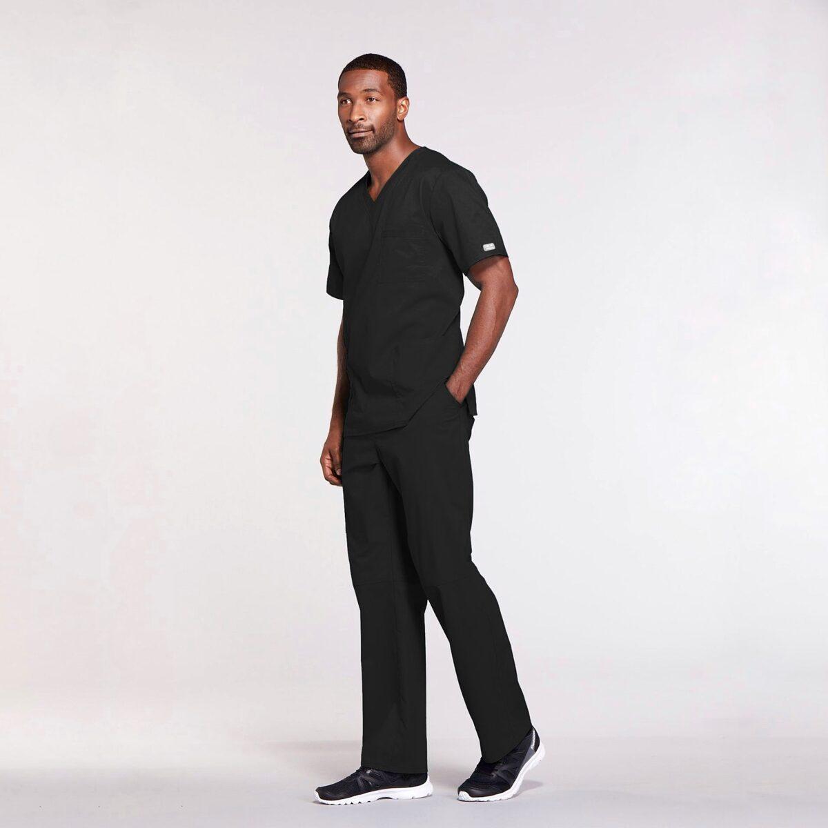 Мужской медицинский костюм прямого силуэта Core Stretch цвет- черный