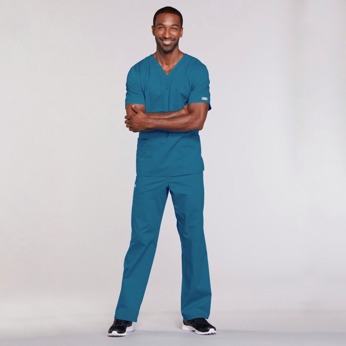Мужской медицинский костюм прямого силуэта Core Stretch цвет- морская волна
