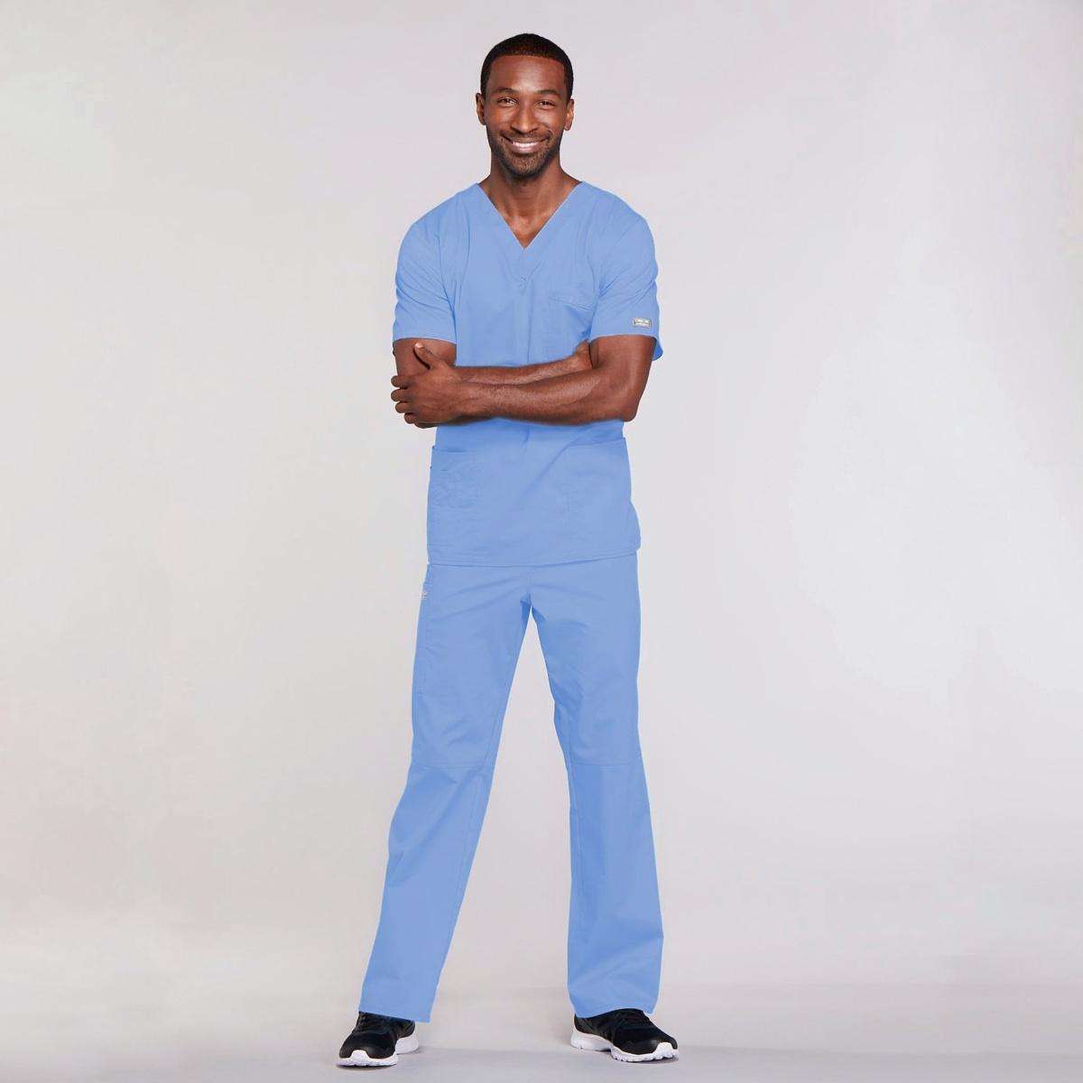 Мужской медицинский костюм прямого силуэта Core Stretch цвет- небесный