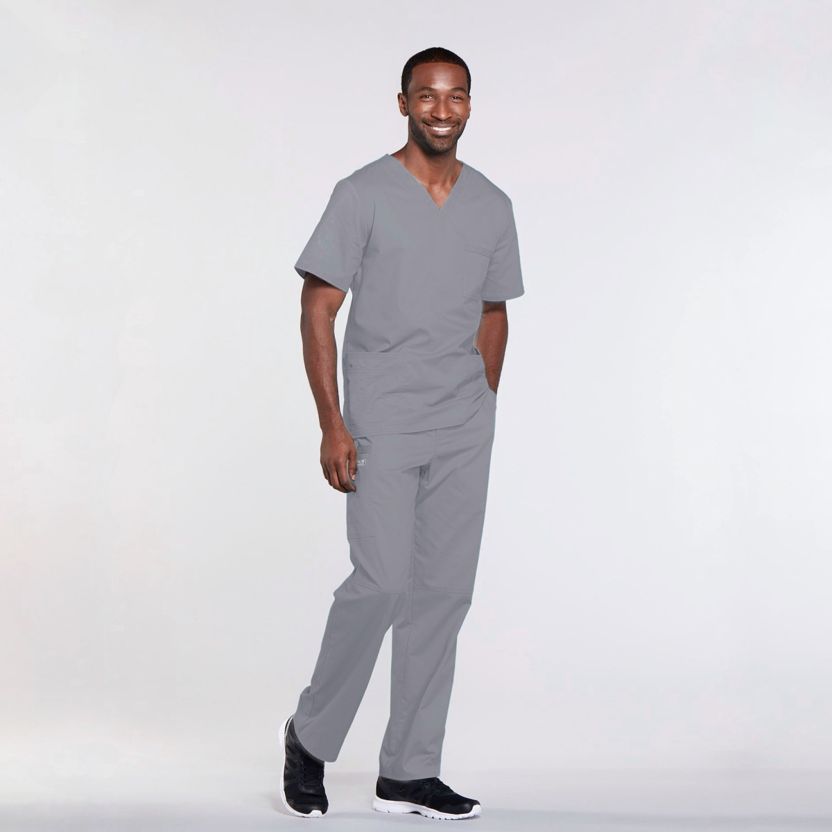 Мужской медицинский костюм прямого силуэта Core Stretch цвет- серый