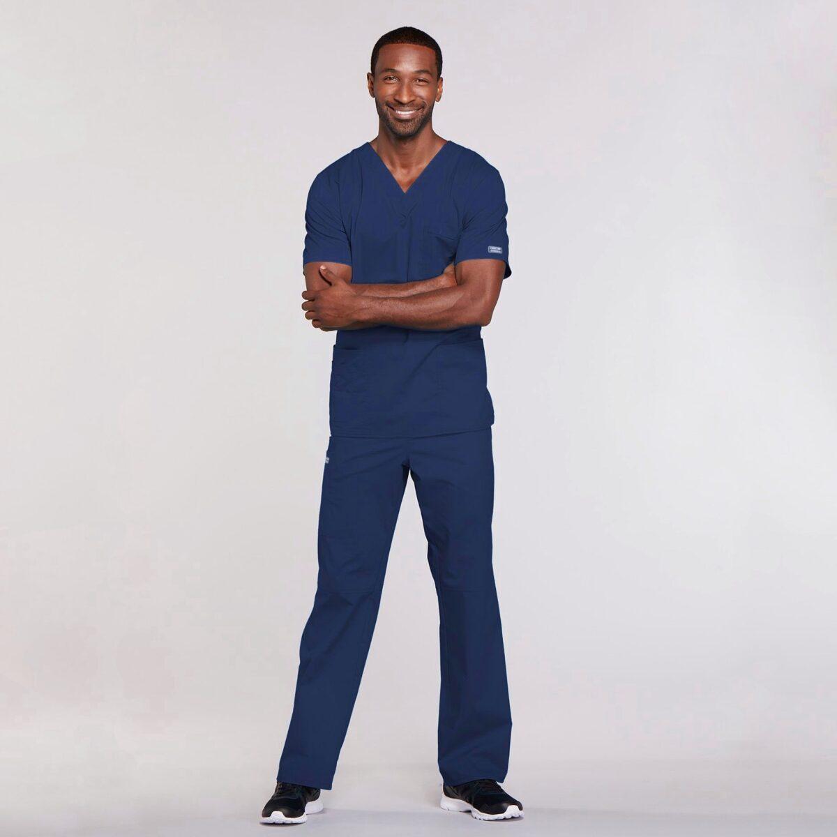Мужской медицинский костюм прямого силуэта Core Stretch цвет- синий