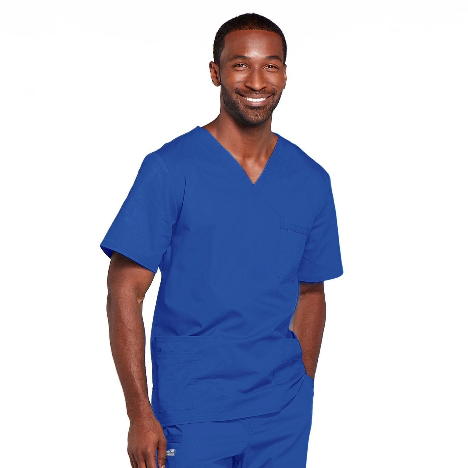 Мужской медицинский костюм прямого силуэта Core Stretch цвет- светло-синий.