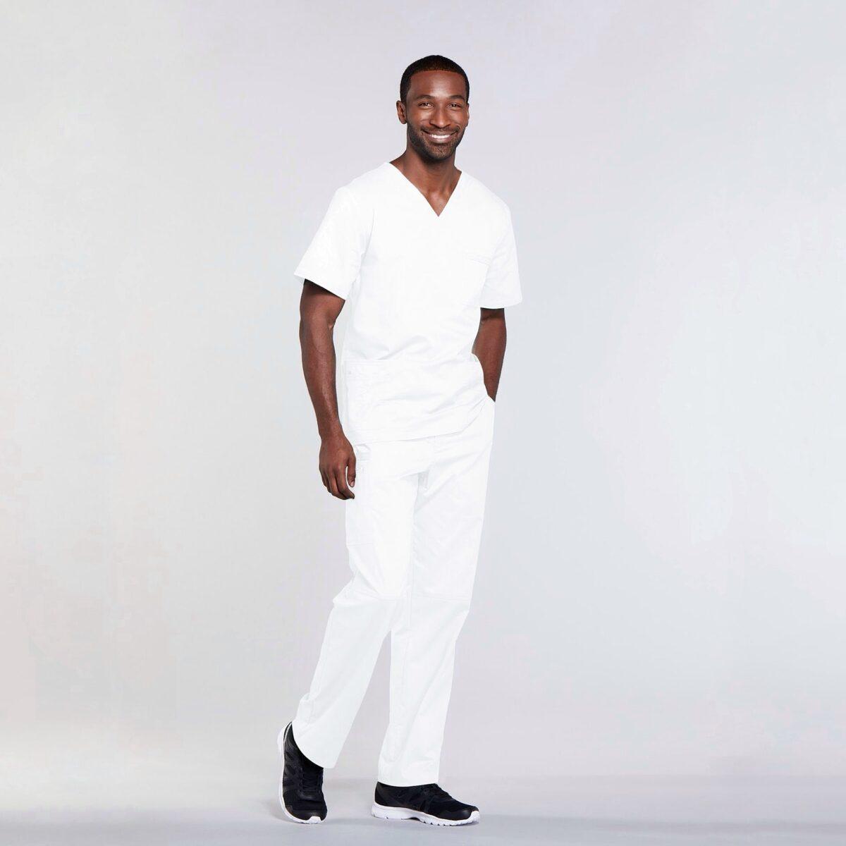 Мужской медицинский костюм прямого силуэта Core Stretch цвет- белый