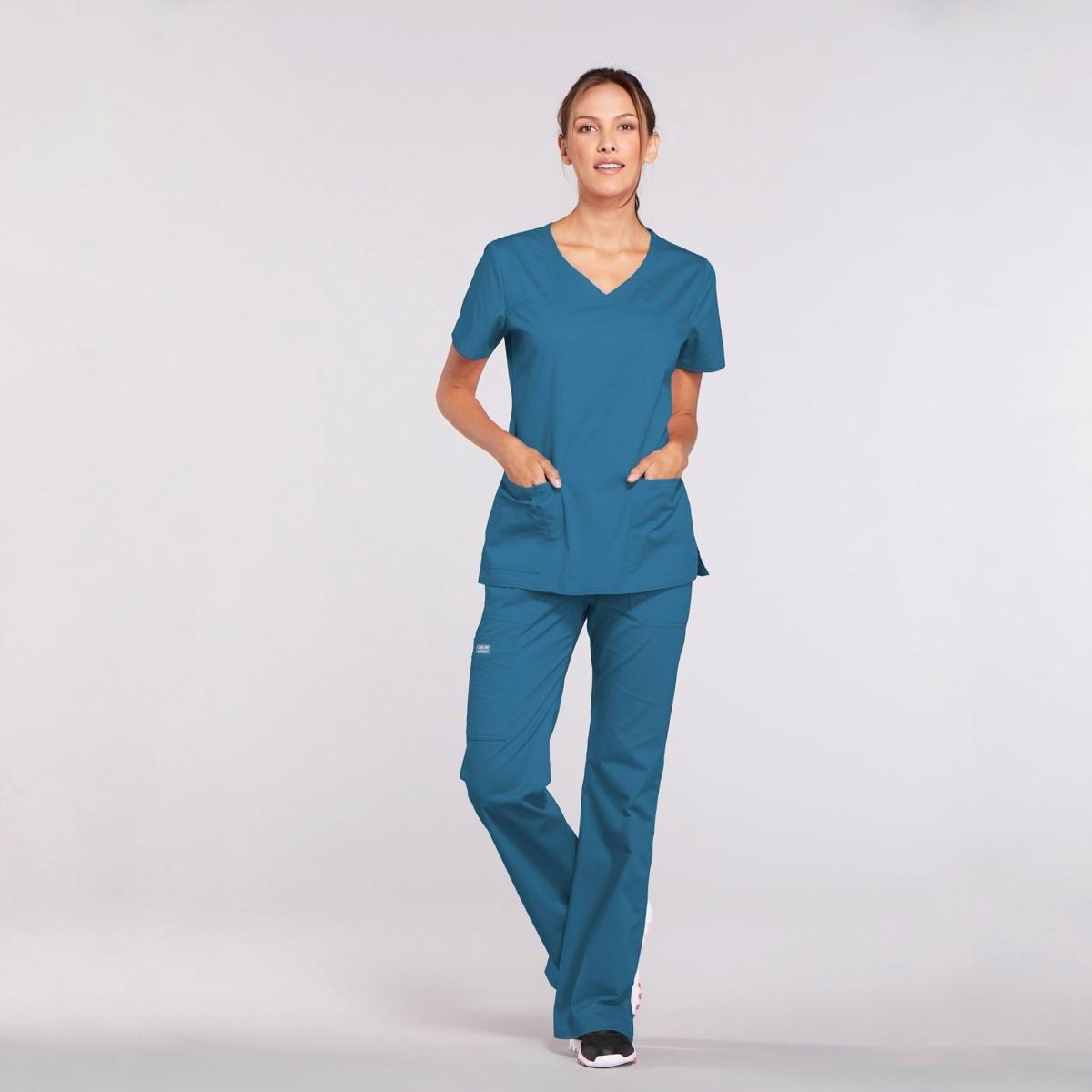 Приталенный женский медицинский костюм Core Stretch из твила цвет - морская волна