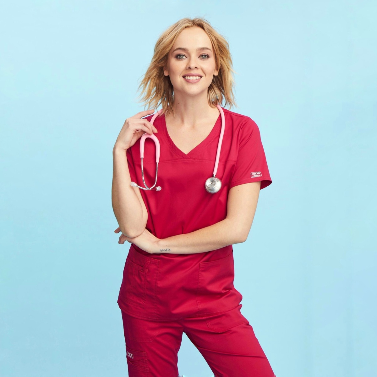 Приталенный женский медицинский костюм Core Stretch из твила цвет - красный