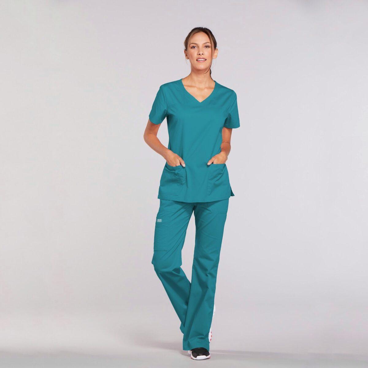 Приталенный женский медицинский костюм Core Stretch из твила цвет - бирюза