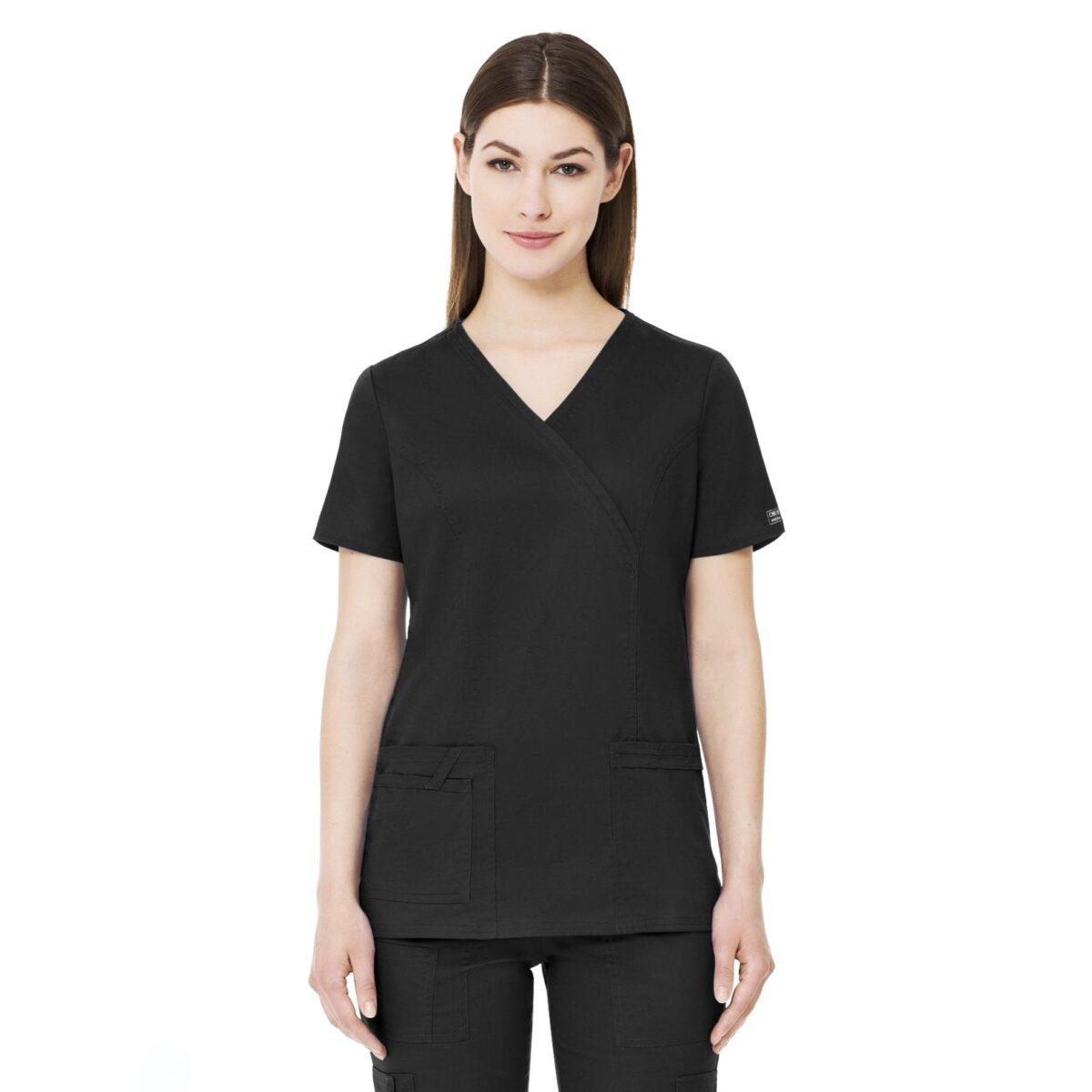 Приталенный женский медицинский костюм Core Stretch из твила цвет - черный