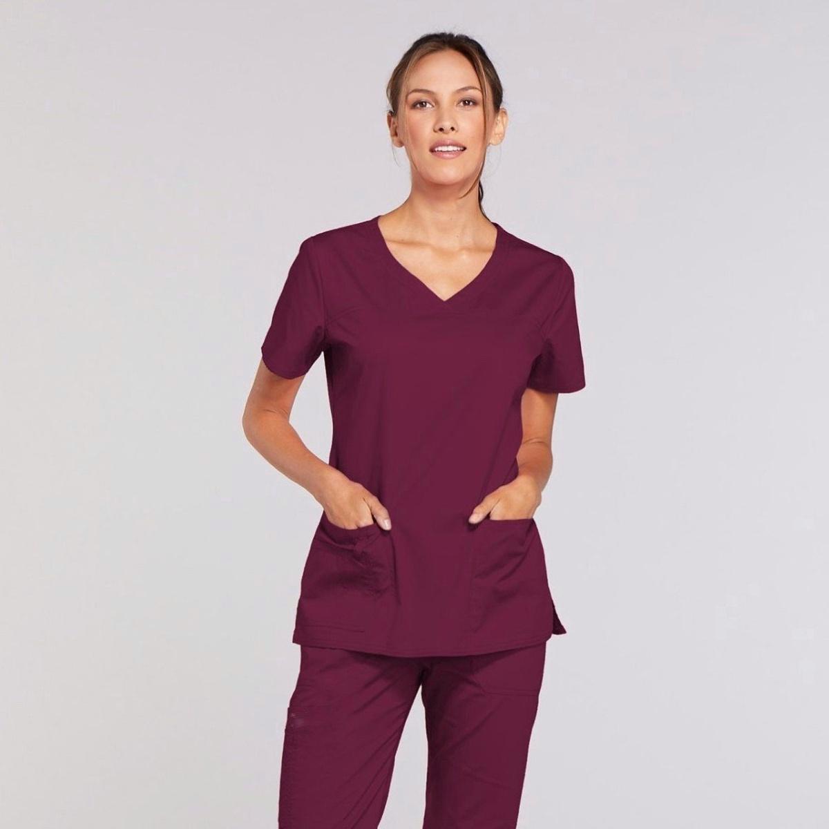 Приталенный женский медицинский костюм Core Stretch из твила цвет - бардо